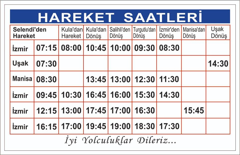 İzmir – Selendi Otobüs Seferleri