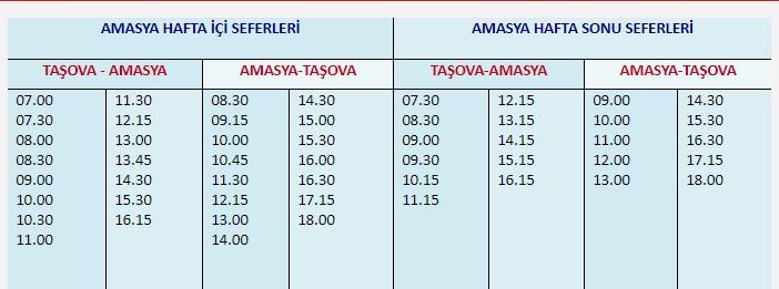 Taşova – Amasya Otobüs Seferleri