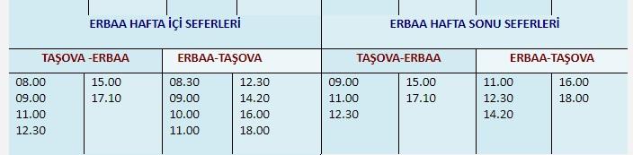 Taşova – Erbaa Otobüs Seferleri