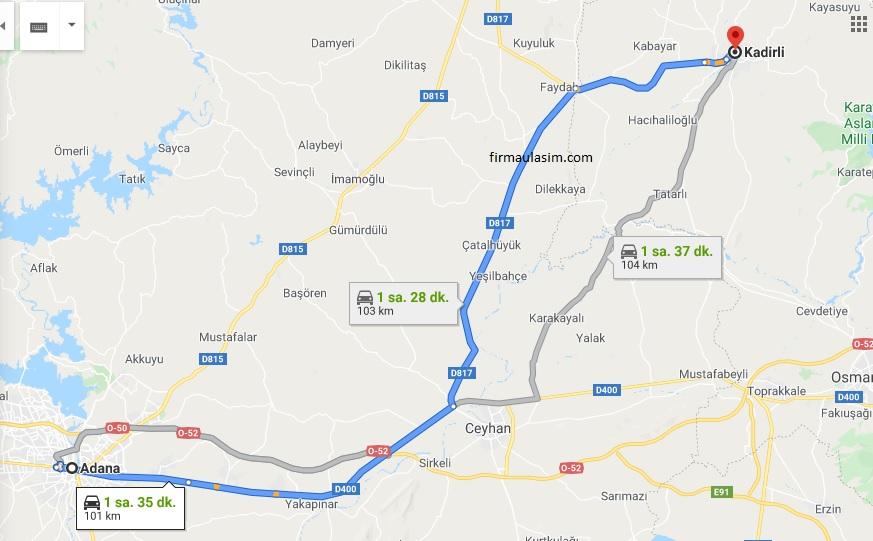 Adana ile Kadirli arası minibüs yol haritası, yol güzergahı